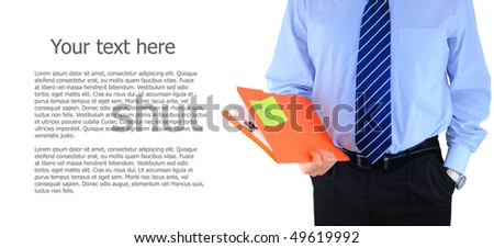Well-dressed businessman with folder isolated