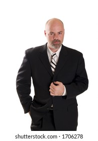 Stock photo of a well dressed confident businessman looking directly at the camera, isolated on white.