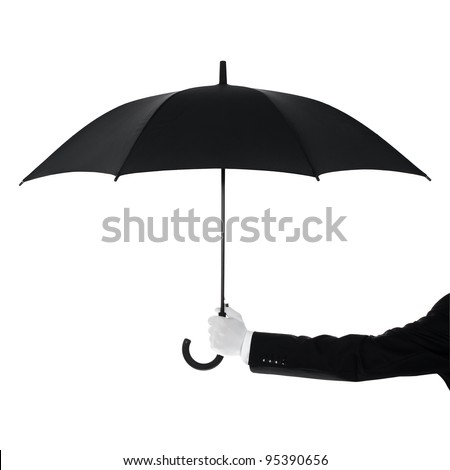 Well dressed man protecting Your text or product with an umbrella