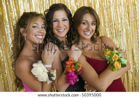 Well-dressed teenager girls at school dance, portrait