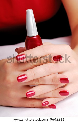 well-groomed woman fingers - stock photo