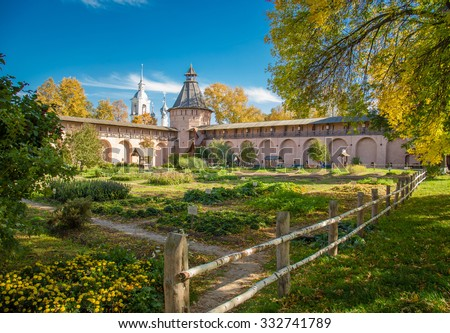 Well in the monastery garden Orthodox monastery. Suzdal Russia.