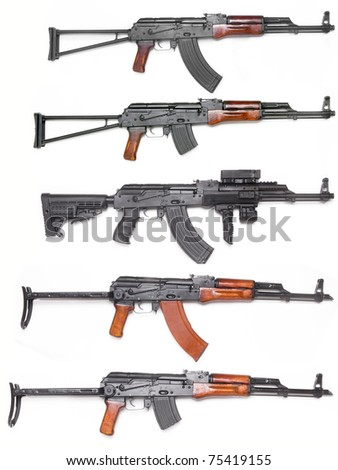 Well known AK-47 kalashnikov assault rifles collection