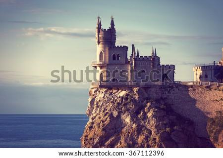 well-known castle Swallow's Nest near Yalta in Crimea #367112396