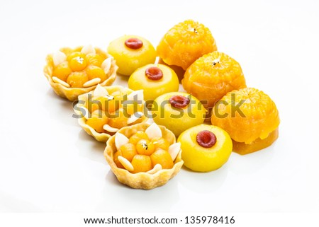 Well known traditional thai dessert present in row on white background