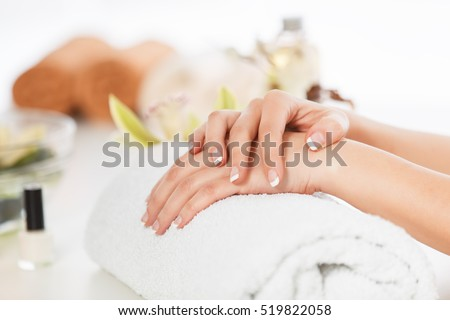 Well manicured nails in spa.