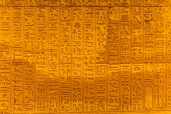 Well preserved Ancient real Egyptian hieroglyphs on the wall in a temple