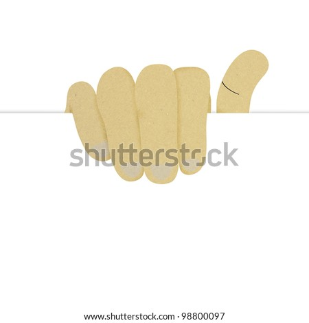 well shaped human hand holding blank advertising card made by recycled paper