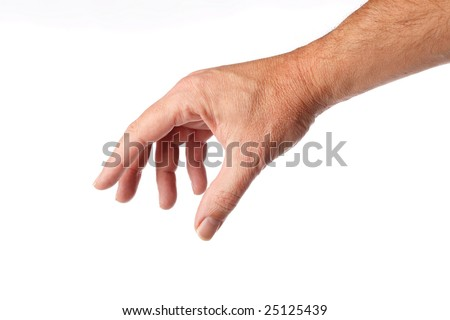 well shaped male hand and arm reaching for something.isolated on white