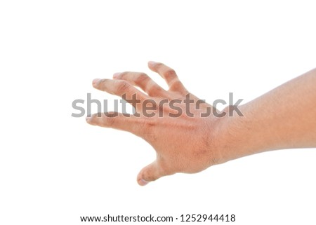 Well shaped male hand reaching for something isolated on a white background. Symbols rejected. Symbols  fear #1252944418