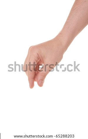 well shaped male hand reaching for something isolated on white - stock photo