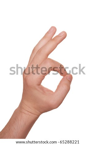well shaped man's hand make OK isolated over white