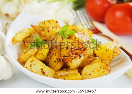 Well spiced roasted potato served as main dish