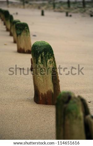 well worn breakwaters on Sandsend beach near Scarborough