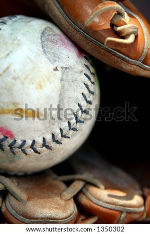 Well-worn softball in glove, long.