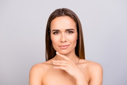 Wellbeing and wellness, beauty and health concept. Coseup photo of adorable lady. Her hair is natural, straight, and skin looks so fresh, pure, healthy and attractive