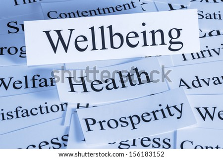 Wellbeing Concept - a conceptual look at wellbeing, health, prosperity, contentment,