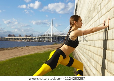 Wellbeing, sports, fitness, endurance and determination concept. Confident determined young woman runner working out by the river despite hot sunny weather, facing brick wall, doing push ups #1124283287