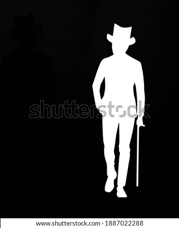 Welldressed Classy gentleman with bowler hat  and cane. isolated on black background. Silhouette of a man in suit holding a cane. Stockfoto ©