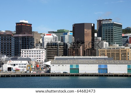 Wellington, capital city of New Zealand. Downtown skyscrapers, financial district.