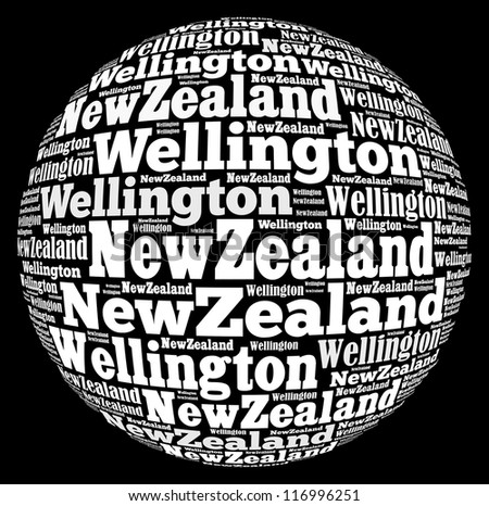 Wellington capital city of New Zealand info-text graphics and arrangement concept on black background (word cloud)