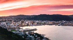 Wellington city and harbour viewed at sunset from Mount Victoria.