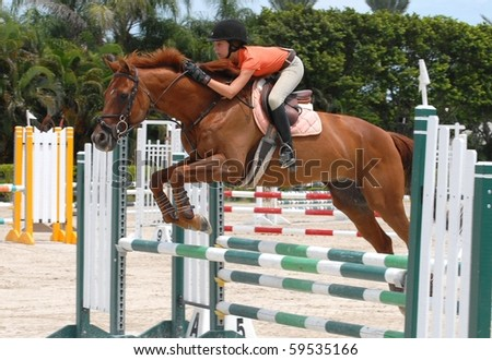 WELLINGTON, FLORIDA - AUG 21:An unidentified competitor clears a jump at the first Palm Beach County Horsemen's Association Show of the 2010-2011 season on August 21, 2010 in Wellington - stock photo