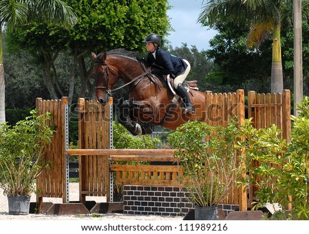 WELLINGTON, FLORIDA - SEPTEMBER 01: An unidentified rider competes at the Equestrian Sports Productions\' ESP Labor Day event on September 1, 2012 in Wellington, Florida.