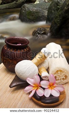 wellness and natural spa concept at waterfall