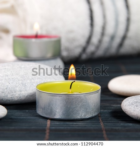 Wellness and spa concept with candles,close up