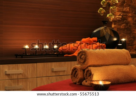 Wellness And Spa Concept With Candles Collection Of