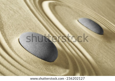 wellness and zen meditation background stones and lines in sand for balance harmony and relaxation spa massage stone, spirituality and purity