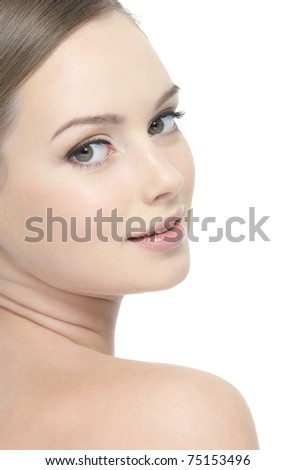 Wellness beautiful young face of woman - vertical