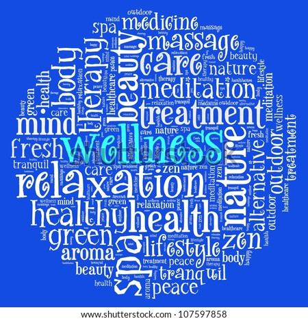 Wellness concept  in word collage