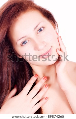 Wellness, healthcare, skin care. Lovely woman on white background.. - stock photo