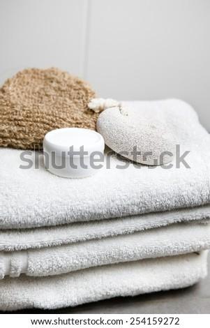 Wellness, white towels with pumice stone, peeling glove and cream jar #254159272