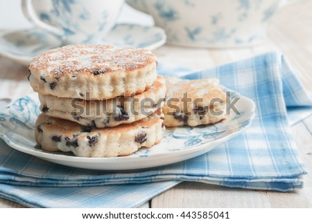 Welsh cakes or Pic ar y maen a traditional griddle cake made with flour and dried fruit