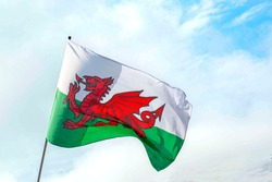 welsh flag blowing in wind