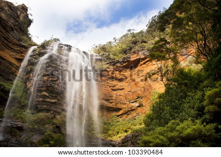 Wentworth Falls waterfall in Blue Mountains, Australia near Sydney