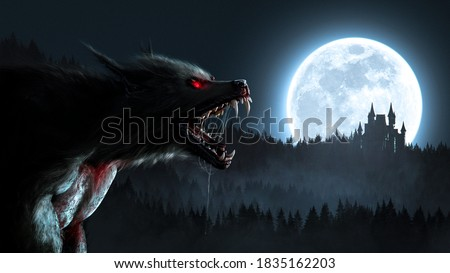Werewolf growling in the moonlight over a full moon shining on a forest with a gothic house - 3D rendering - concept art Foto d'archivio ©