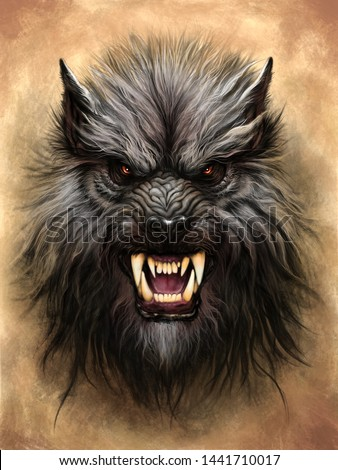 Werewolf head on the textured abstract background. Digital painting. Сток-фото ©