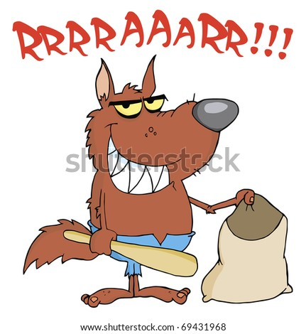 Werewolf Holding Club And Bag - stock photo