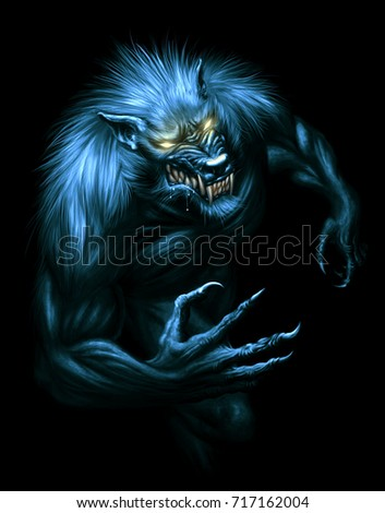 Werewolf with glowing eyes on the dark background. Digital painting.
