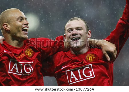 Wes Brown and Wayne Rooney at the Champions League Final held at Luzhniki Stadium Moscow 21 May 2008 and contested by Manchester United v Chelsea FC