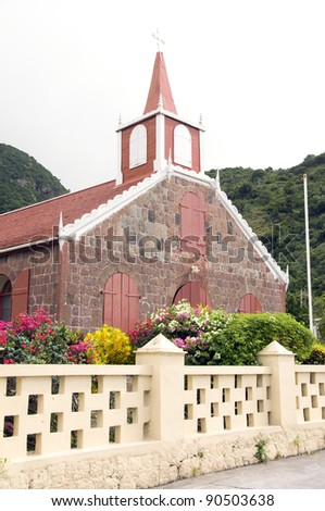 Wesleyan Holiness Church with flowers in The Bottom Saba Dutch Netherlands  Antilles