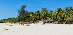 West Africa Senegal Cap Skirring - Paradise beach - beach chairs, umbrellas