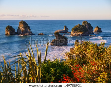 West coast of New Zealand - Punakaiki Pancake rocks region