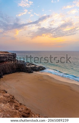 West Coast Photo Point in the town of El Cotillo in the north of the island of Fuerteventura, Canary Islands. Spain