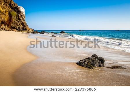 West coast with beautiful beach and cliffs, Malibu, California, USA