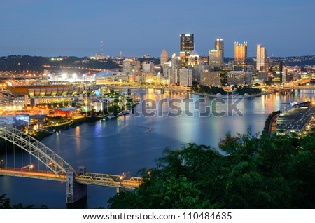 West End Bridge and downtown PIttsburgh, Pennsylvania, USA.